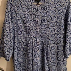 Talbots petites med p blue and white blouse.